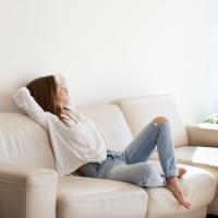 woman at home relaxed in cool air