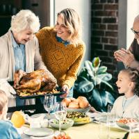family gathered around the table for a turkey dinner