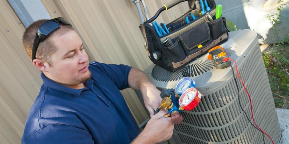 Technician Providing Emergency AC Repair