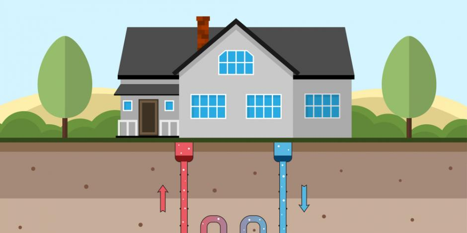 graphic of cross-section view of geothermal system beneath house