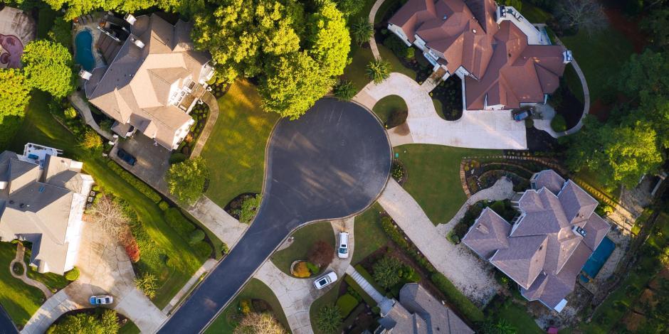 aerial view neighborhood atlanta georgia