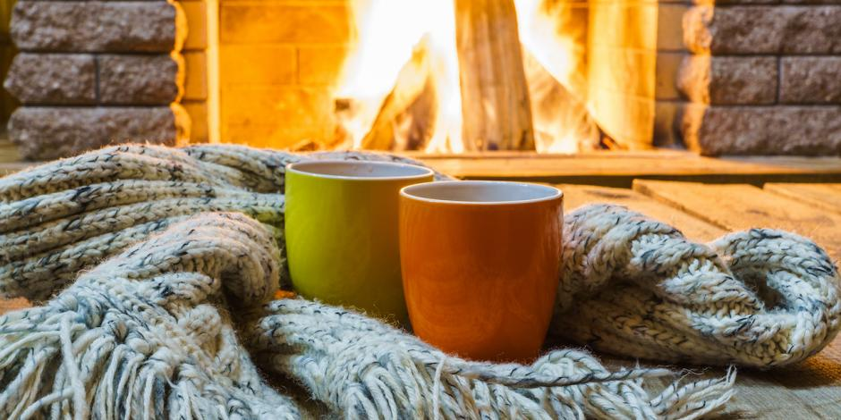 cozy home, warm mugs by the fire