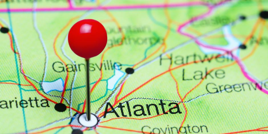 City of Atlanta, GA pinned on map