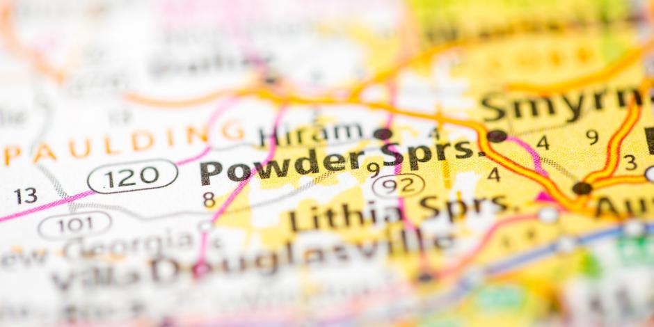 Map of Powder Springs. Georgia